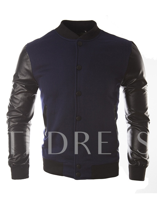 Stand Collar Patchwork PU Slim Men's Leisure Jacket