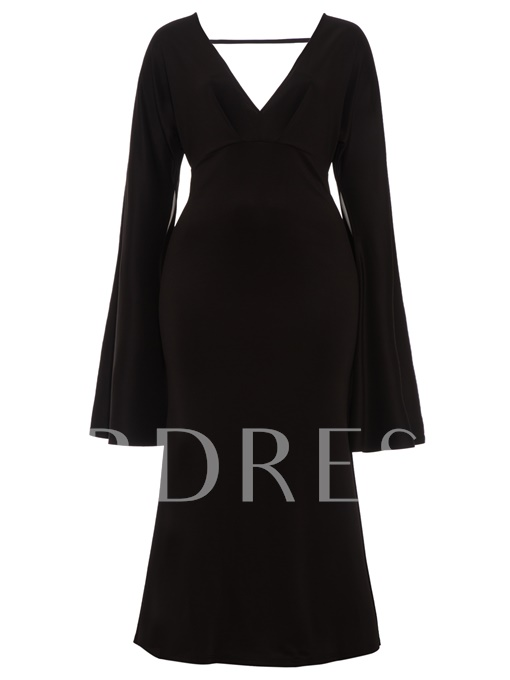 Plus Size Bell Sleeve Women's Maxi Dress