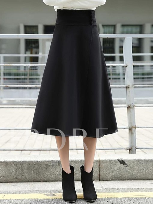 Plain Pleated High-Waist Women's Flare Skirt