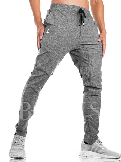 Lace-up Solid Color Straight Men's Casual Pants