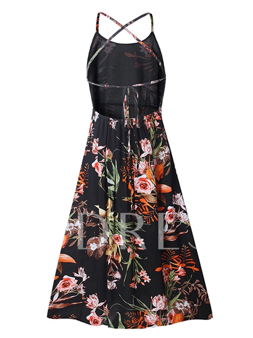 Spaghetti Strap Black Printing Women's Day Dress