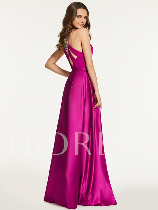 A-Line Scoop Beading Empire Long Prom Dress