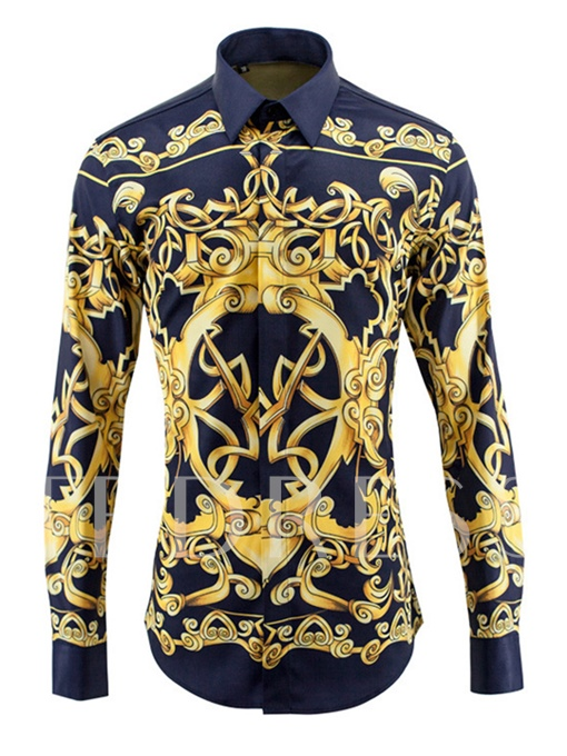 Lapel Luxury Ethnic Print Slim Men's Shirt