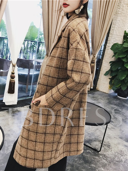 Vintage Plaid Color Block Women's Overcoat