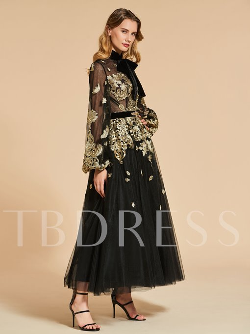 A-Line Long Sleeves High Neck Bowknot Lace Evening Dress
