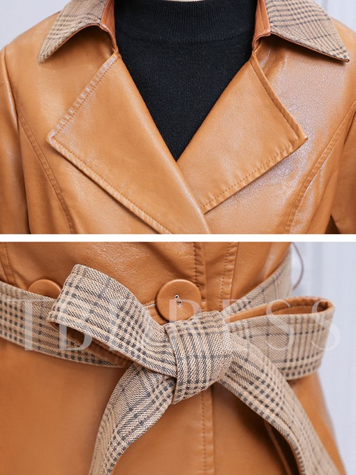 Plaid Lapel Double-Breasted Lace-Up Women's PU Jacket Coat
