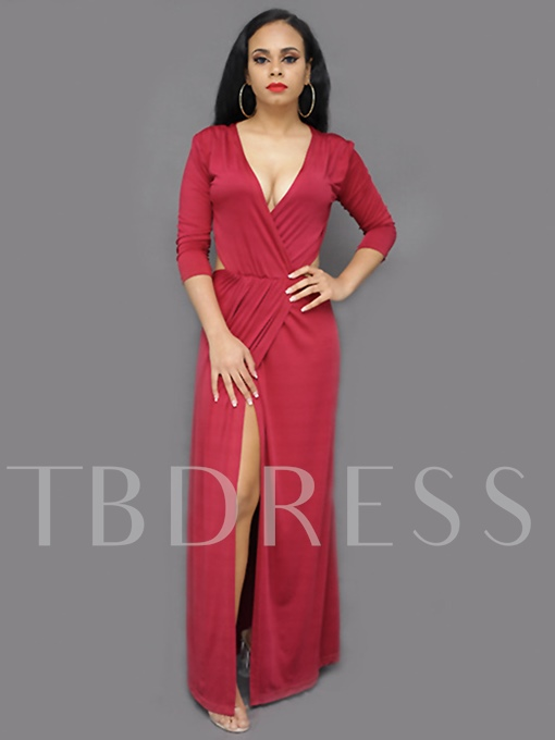 Red Cuts-Out V Neck Women's Maxi Dress