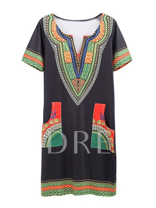 Short Sleeve Printing Pockets Women's Day Dress