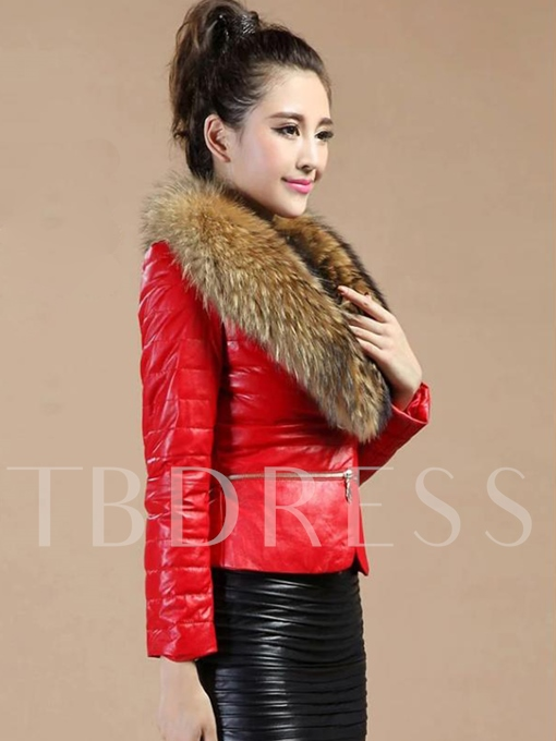 Faux Fur Collar Warm Slim Fit Women's PU Jacket Coat