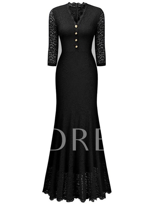 Single-Breasted V Neck Lace Women's Maxi Dress