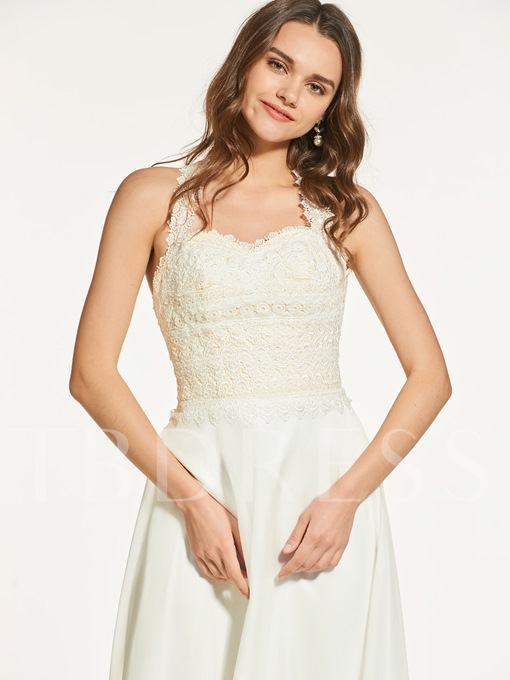 A-Line Button Lace Sleeveless Straps Prom Dress