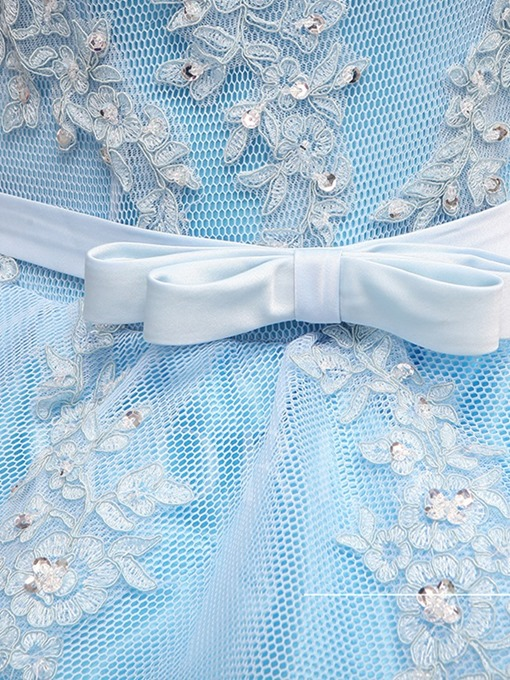 V-Neck Appliques Beading Bowknot Sashes Quinceanera Dress