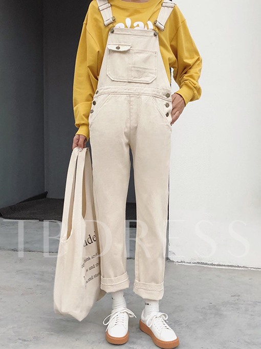 Straight Pocket Patchwork Women's Overall