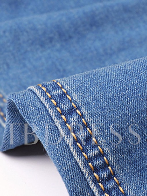 Hole High Waist Button Skinny Slim Fit Women's Jeans