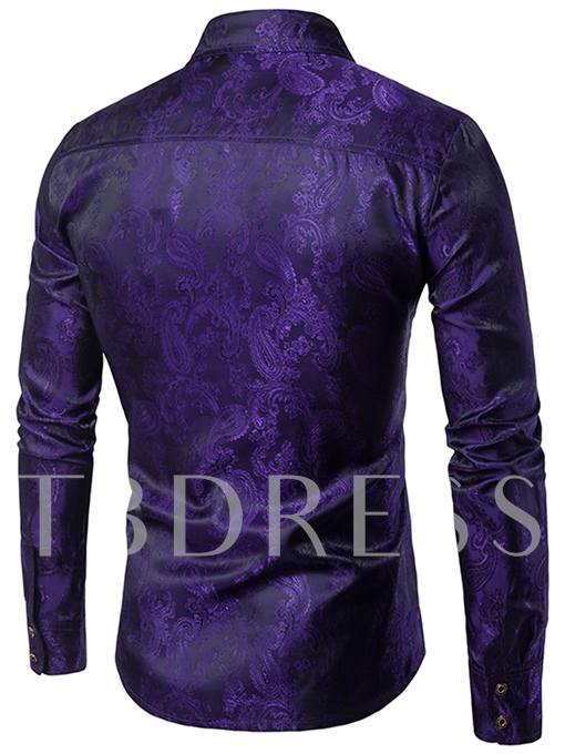 Lapel Embroidery Ethnic Print Slim Men's Dress Shirt