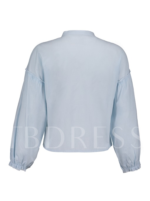 Stand Collar Floral Embroideried Single-Breasted Women's Shirt