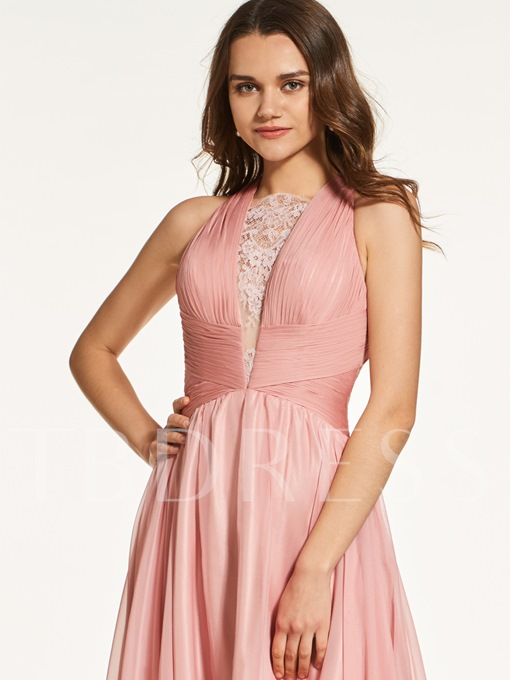 A-Line Lace Criss-Cross Straps Long Prom Dress