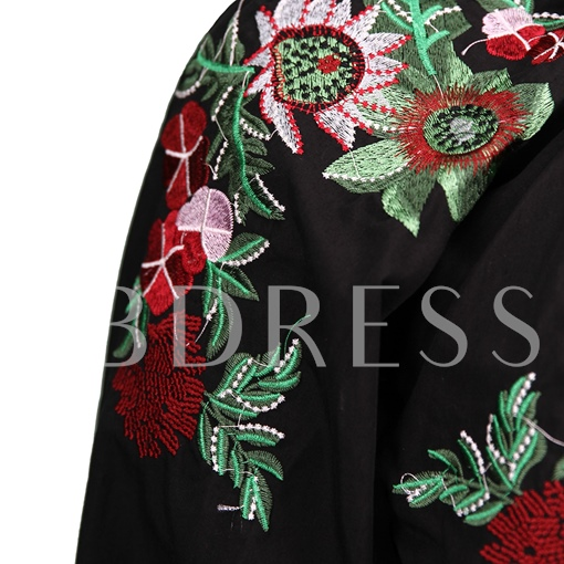 Lantern Sleeve Floral Embroideried Pullover Women's Blouse