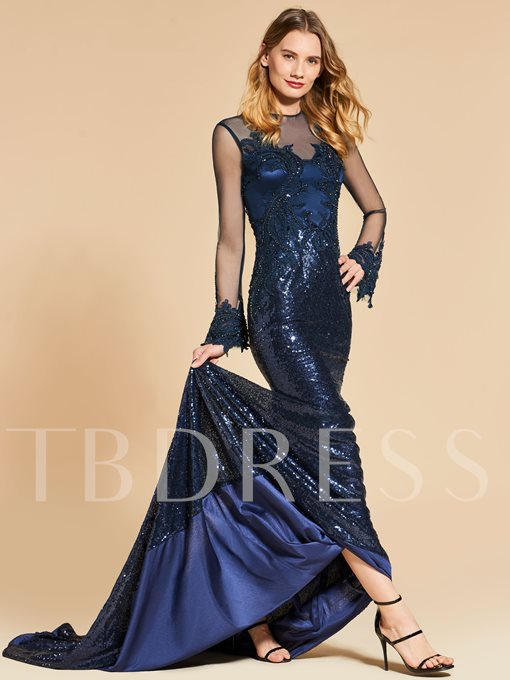 Appliques Beaded Button Sequins Mermaid Long Sleeves Evening Dress