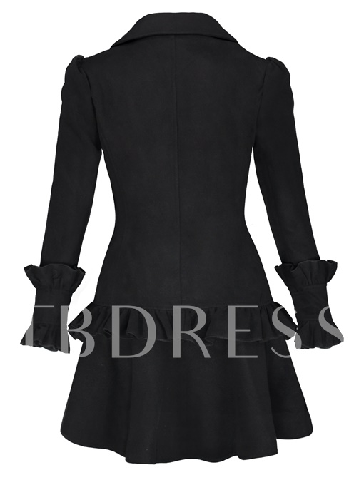 Solid Color Falbala Pleated Women's Overcoat