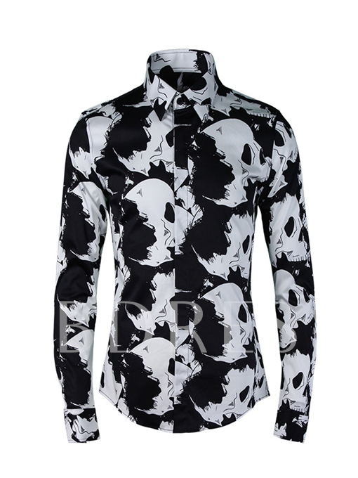Square Collar Skull Print Luxury Slim Men's Shirt