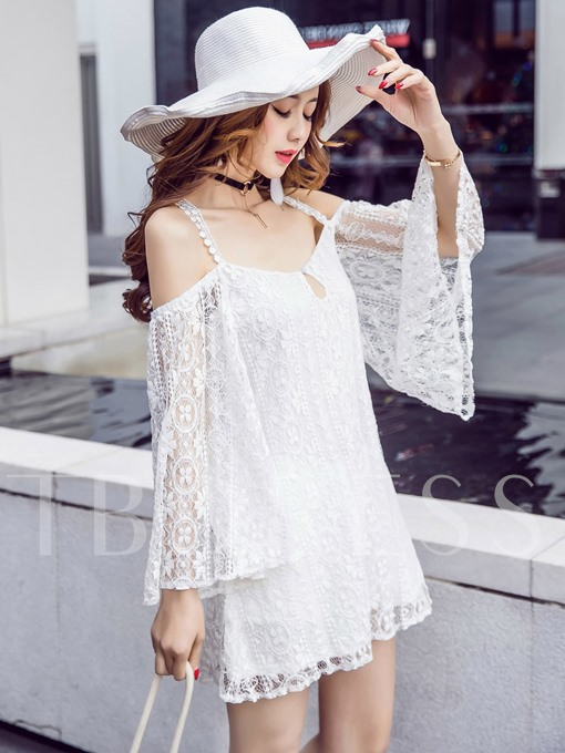 White Strappy Backless Women's Lace Dress