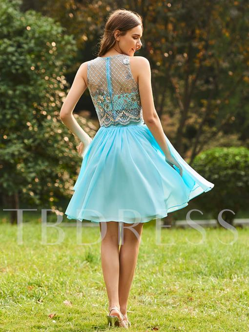 Straps Lace Top Short Bridesmaid Dress