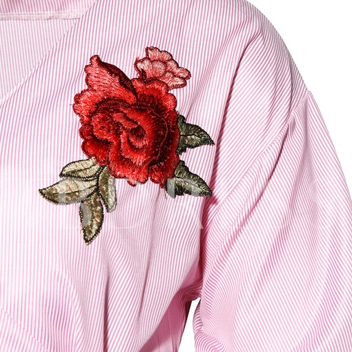 V-Neck Ruffle Sleeve Floral Embroidery Lace-Up Women's Blouse