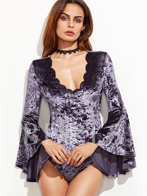 Bell Sleeves V-Neck Women's Bodysuit