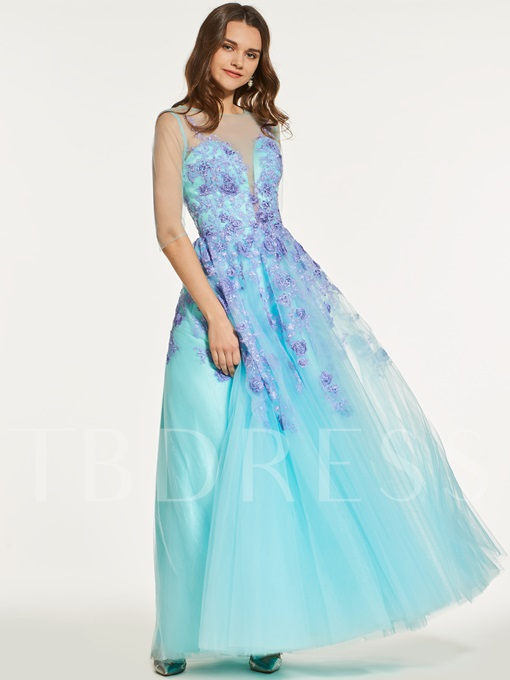 A-Line Half Sleeves Appliques Button Scoop Prom Dress