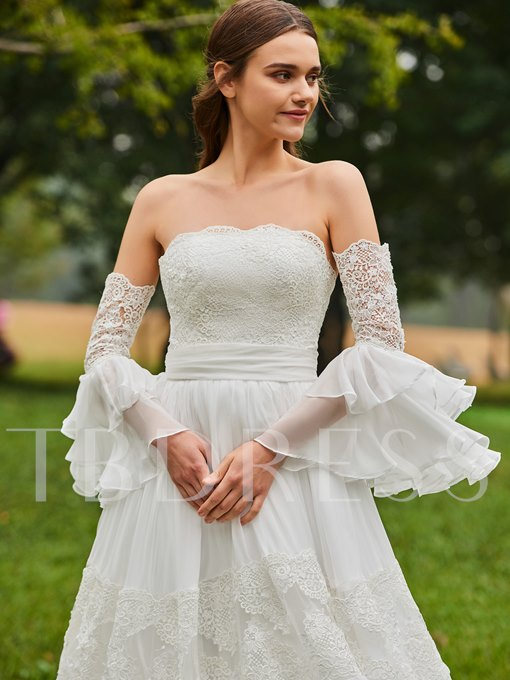 Strapless A-Line Lace Wedding Dress with Oversleeve