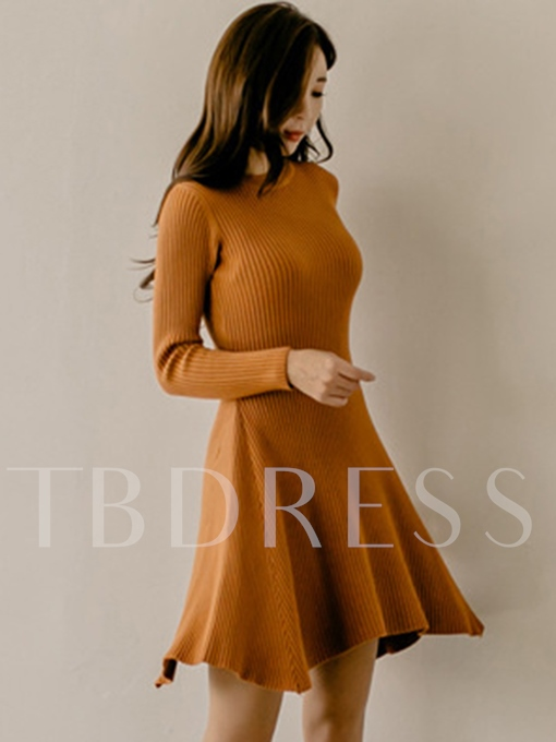 Round Neck Pullover Long Sleeve Women's Sweater Dress