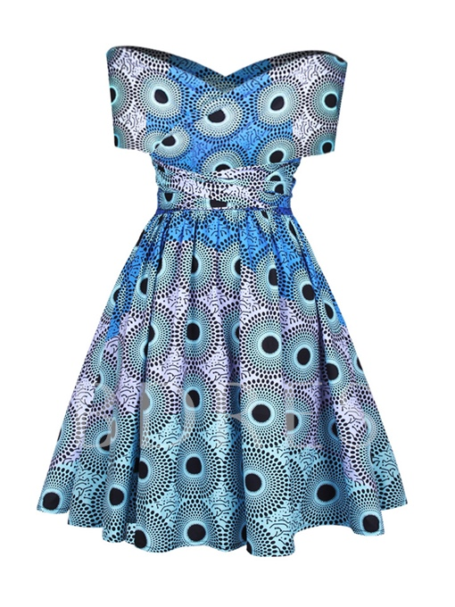 Multi-Way Blue Printing Women's Day Dress