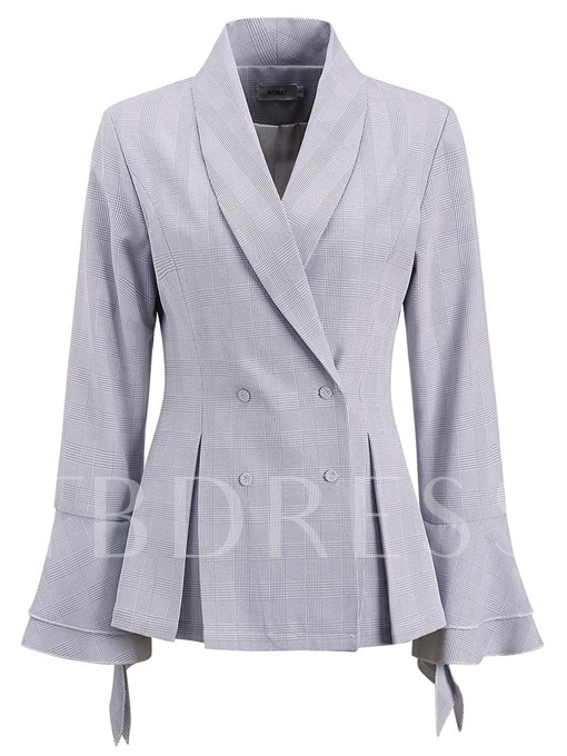 Flare Sleeve Double-Breasted Slim Fit Women's Blazer
