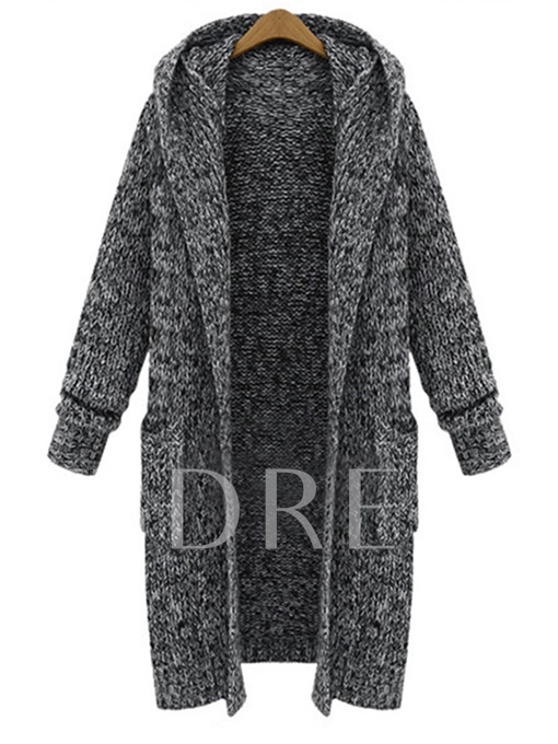 Loose Hooded Pocket Thick Women's Sweater Coat