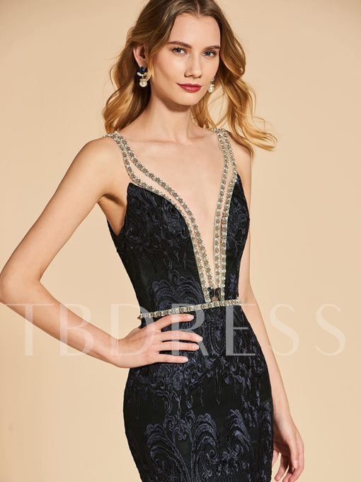 Mermaid V-Neck Lace Beading Backless Evening Dress