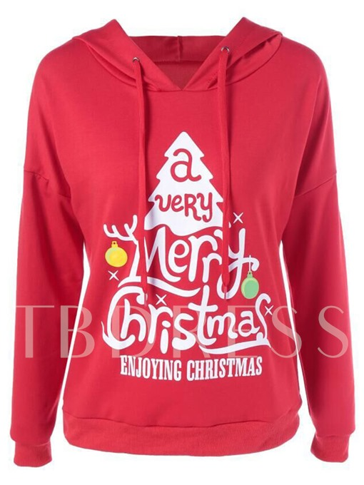 Letter Print Hooded Women's Ugly Christmas Hoodie