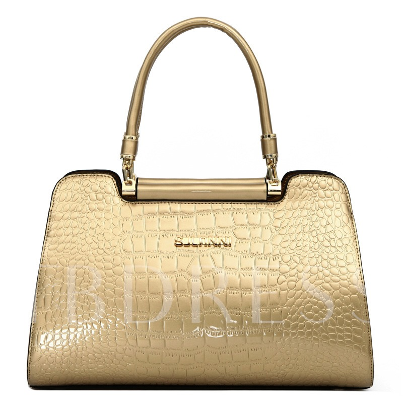 Classic Crocodile Embossed Solid Color Tote