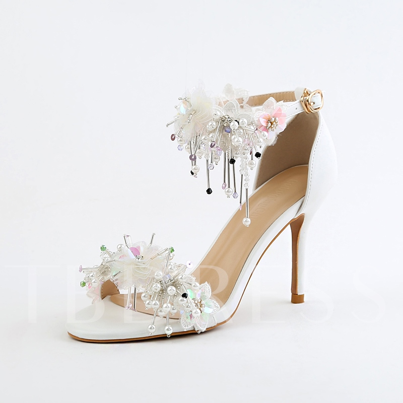 Buy Heel Covering Appliques Beads White Sandals Bridal Wedding Shoes, Spring,Summer, 13095556 for $72.99 in TBDress store