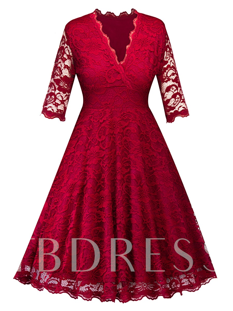 V Neck Burgundy Half Sleeve Women's Lace Dress