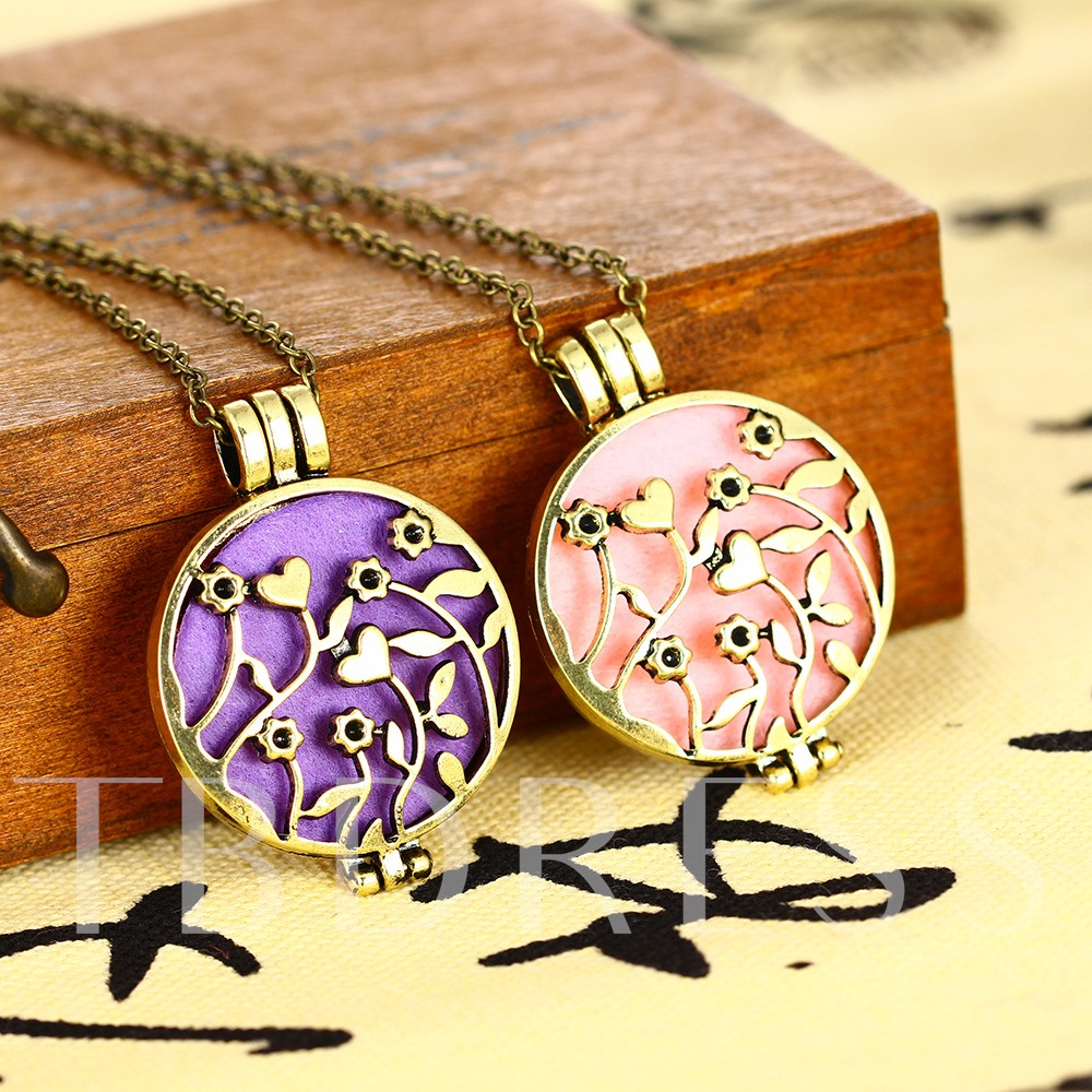 Retro Essential Oil Alloy Flower Hollow Out Necklace