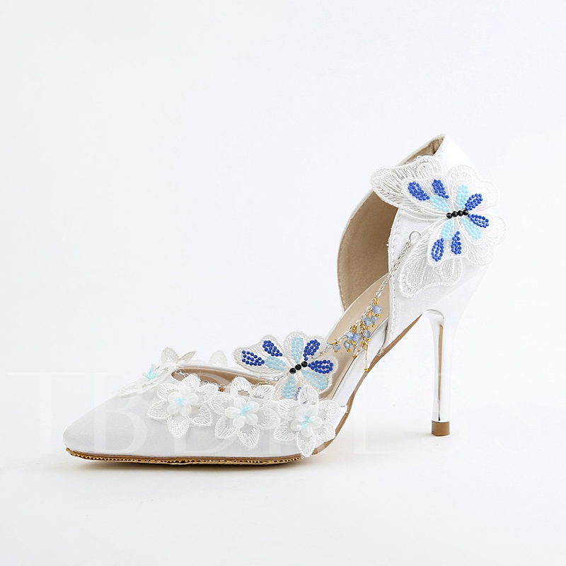 Buy Slip On High Heel Appliques Lace Rhinestone Wedding Shoes, Spring,Summer,Fall, 13095585 for $68.99 in TBDress store