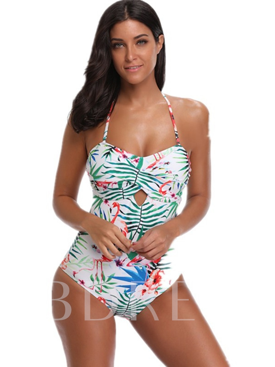 Flower Print Stripe Halter One-Piece Swimsuit