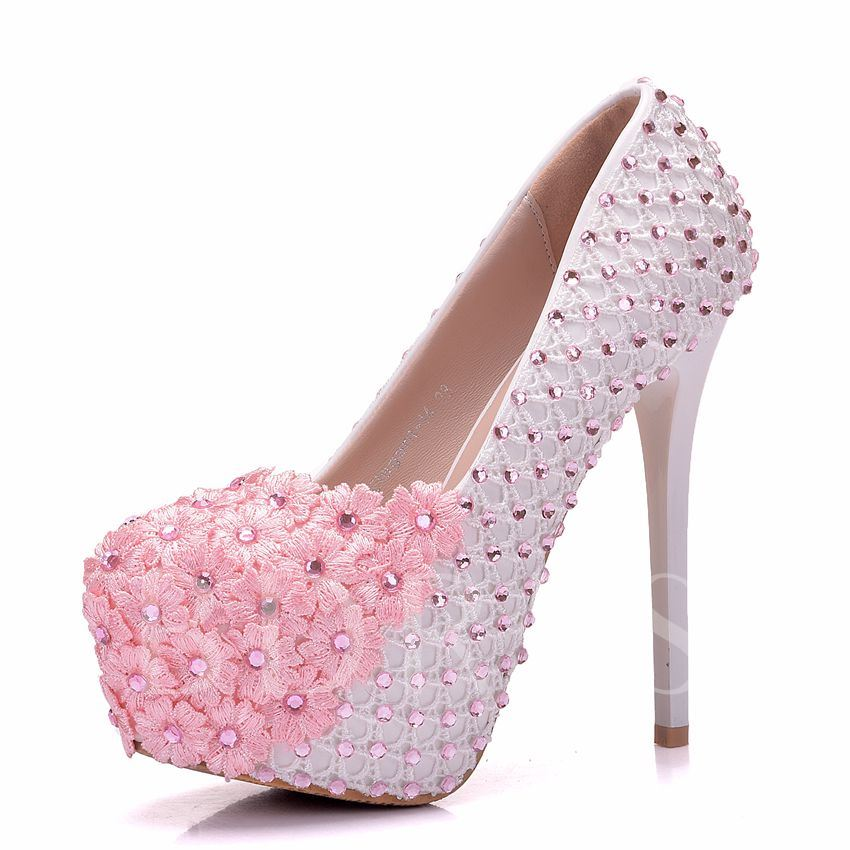 Buy Pink Wedding Shoes with Appliques Rhinestone for Women, Spring,Summer,Fall, 13095590 for $70.99 in TBDress store