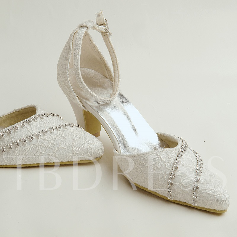 Buckle Beige Lace Rhinestone Women;s Wedding High Shoes