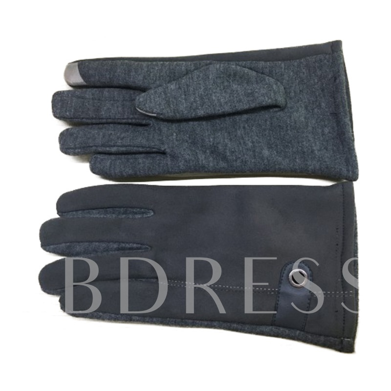 Simple Artificial Leather Warm Touch Screen Men's Gloves