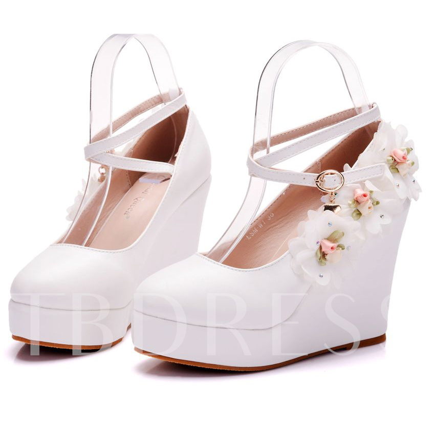 Appliques Buckle Platform Wedge Heel Wedding Shoes for Bridal, Spring,Summer,Fall, 13095563