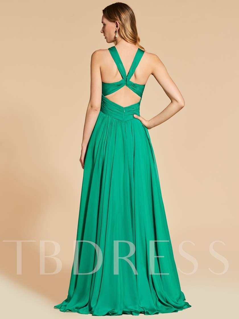 A-Line Embroidery Scoop Empire Evening Dress