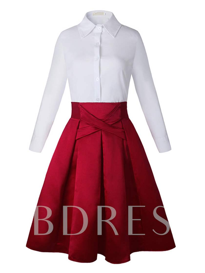 Slim A-Line Shirt and Skirt Suit Women's Two Piece Dress