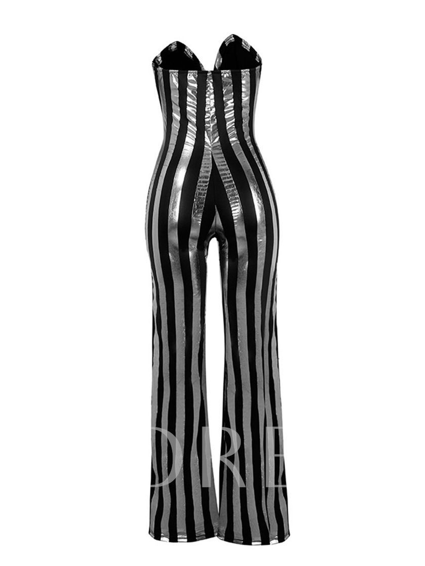 Sexy Black Gold Stripe Print V-Neck Women's Jumpsuits